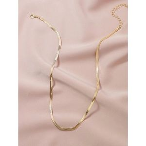 Gold Simple Solid Snake Chain Necklace